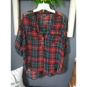 Papermoon sheer high low plaid top